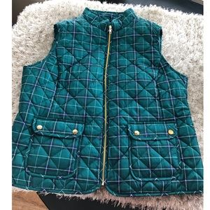 St John's Bay Teal Plaid Vest Size XXL